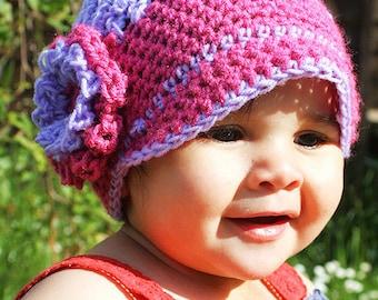 SUMMER SALE 3 to 6m Girl Newsboy Hat, Pink Newsboy Hat, Purple Flower Flapper Hat, Baby Hat, Luxury Merino Brim Newsgirl Hat Prop Costume
