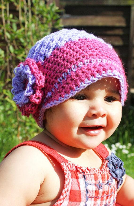 CIJ SALE 6 to 12m Pink Flower Newsgirl Baby Hat - Baby Girl Newsboy Hat Purple Crochet Hat Flapper Flower Hat Baby Photo Prop