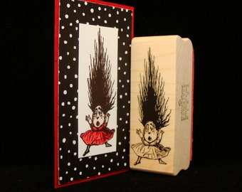 scaredy hair rubber stamp