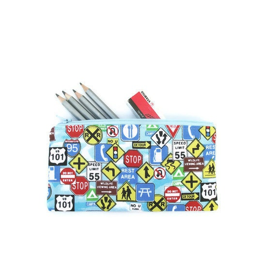 Pencil case. Zipper pouch. Blue with road signs. Back to school
