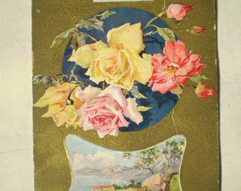 Happiness - Early 1900s - Pink and Yellow Roses - Antique American Postcard