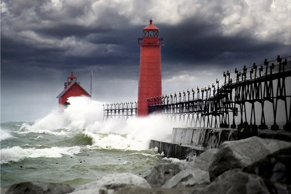 Rain Storm with High Wind at the Lighthouse Pier Head on Lake Michigan in Grand Haven Michigan No.84320pm A Fine Art Photograph