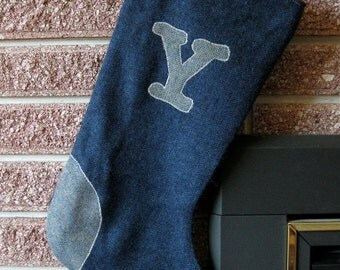 1 Large Stocking with the Letter Y Monogram. A personalized Vintage Wool Christmas Stocking in navy blue wool and sea green tweed