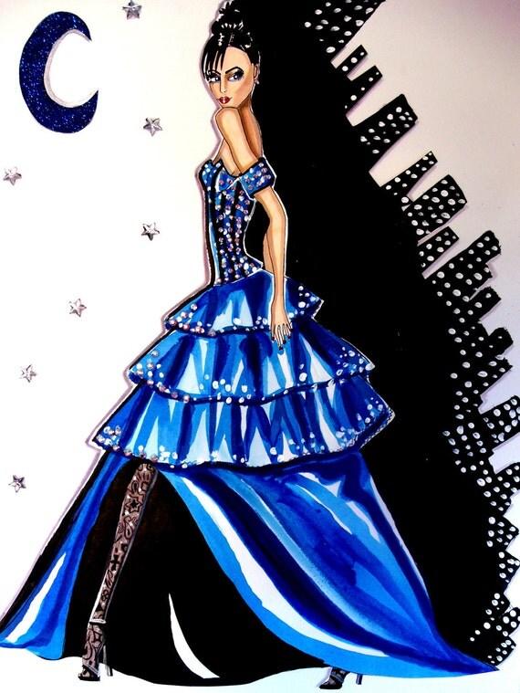 Midnight In Manhattan -Original Watercolor Fashion Illustration By James Thomas Ryan -
