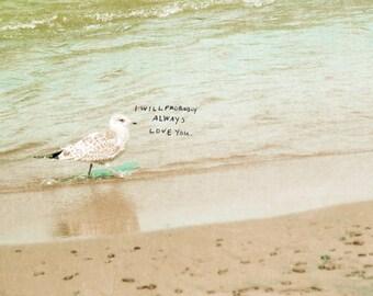 Probably // Landscape Nature Photo, Beach Theme, Seagul, Ocean, Cottage Chic Decor, Modern Love, Romantic Photo, Valentines, Wedding