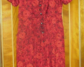 1950s Red Roses Silky Rayon Dress with Rhinestone Buttons