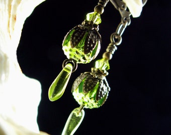 Lime Green Crystal Dangle Drop Steampunk Earrings Antiqued Gold Bronze Filigree Titanic Temptations Vintage Victorian Bridal Style Jewelry