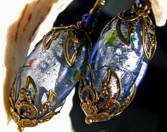 Light Sapphire Blue Silver Foil Crystal Antiqued Bronze Filigree Victorian Earrings Titanic Temptations Vintage Bridal Style Jewelry