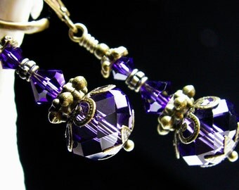 Purple Jeannie Bottle Steampunk Earrings Amethyst Genie Bottle Charm Dangle Victorian Bridal Drops Antique Brass Titanic Temptations Jewelry