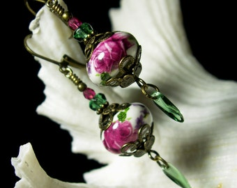Pink Rose Victorian Earrings, Green Crystal Dangle Drops, Antiqued Gold Brass Filigree, Titanic Temptations Edwardian Bridal Style Jewelry
