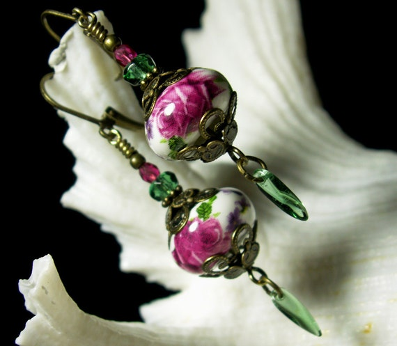 Rose Pink and Green Crystal Antiqued Bronze Filigree Earrings Steampunk Jewelry Antique Vintage Victorian Bridal Style