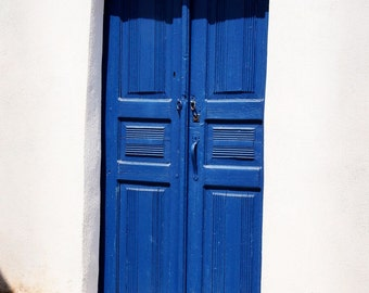 Greece Photography - Blue Door Print - Oia Santorini Art - Door Photo - Mediterranean Home Decor - Blue and White Wall Art Travel Photo