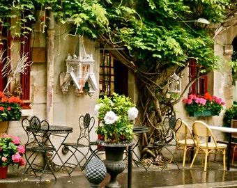 Paris Photography - French Cafe Art - Parisian Fine Art Print - Colorful Paris Home Decor - Pink Green Red - France -  Wall Art