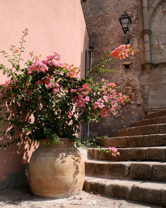 Sicily Photography Peach Home Decor Italy Photograph Pink Flowers Wall Art Italian Architecture Print Rustic