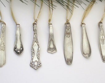 Silver Spoon Icicle Ornaments - Set Of 3,silver Decor, Christmas Tree Decor, Holiday Decoration Vintage Christmas, Antique Ornament Handmade