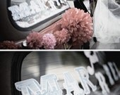 Wedding Decal Just Married Sticker Wedding Sign for Getaway Car - Customizable Colors - Wedding Accessory Detail - Car Decal Sticker
