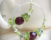 Christmas Earrings, Beaded Hoops, Victorian, Red and Green Czech Glass and Bright Silver