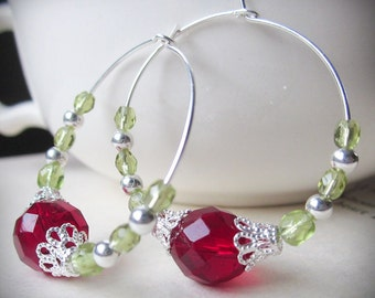 Christmas Earrings, Holiday, Beaded Hoops, Red and Green Czech Glass and Bright Silver Filigree, Victorian
