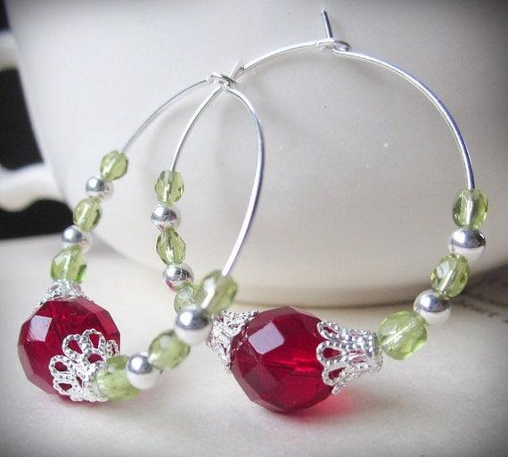 Items similar to christmas earrings holiday beaded hoops