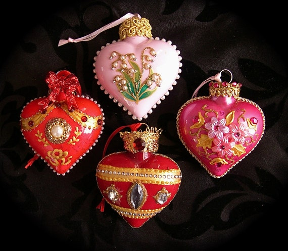 Handpainted Glass Hearts with Faberge Designs