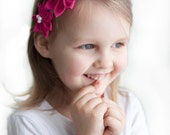 Pink girl headband - Flower girl bright pink linen headband