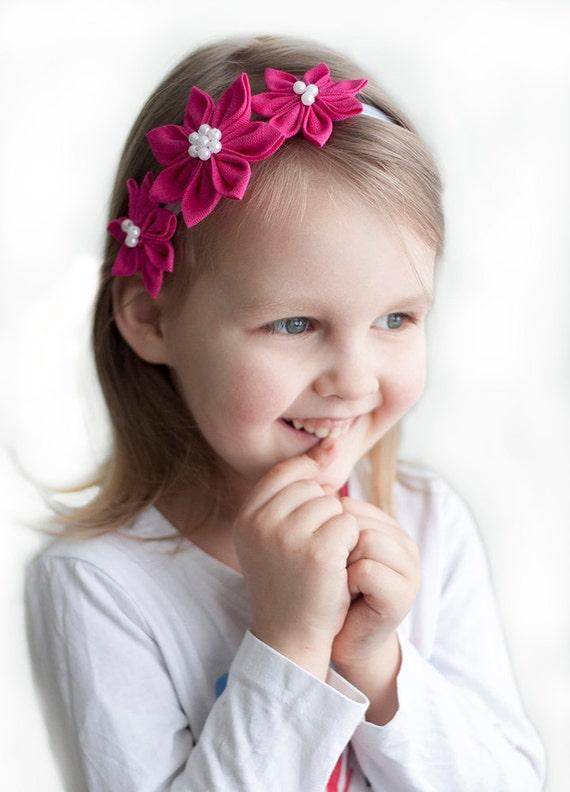 Pink girl headband - Flower girl headband - Bright pink headband - prom headband - baby girl headband - spring headband - girls hair piece