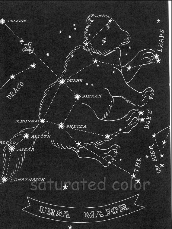 Big Dipper Ursa Major Great Bear Night Sky 1948 by ...