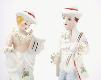 Collectible Figurines - Dandy Couple - French Shabby Chic - Vintage Kitsch Home Decor - Dime Store Era Decorating - Wedding Cake Toppers