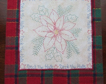 POINSETTIA HOLIDAY TOWEL Red and Green Plaid Hand Towel Shiny Gold Details to Deck the Halls