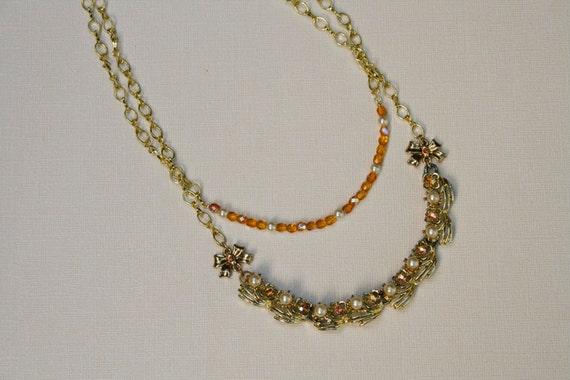 Topaz & Pearl Vintage Component Gold Necklace - Elegant Multi-Strand, Bow, Crystal, Flower