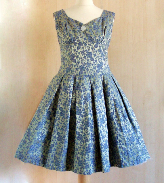 1950s dress Blue and Gold Brocade Vintage Shelf  Prom Occasion Dress UK Size 12 US 8 10