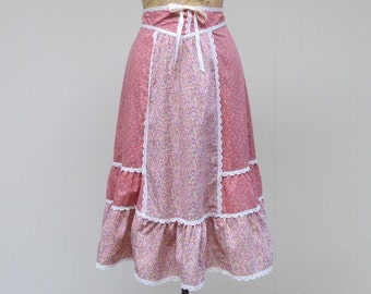Vintage 1970s Skirt / 70s Pink Cotton Calico Patchwork Skirt / Small