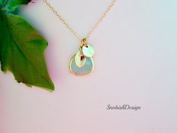 Aquamarine Necklace, Initial Necklace, Dainty Gold Necklace, Mothers Necklace, Personalized Womens, Sister Necklace, Custom Necklace