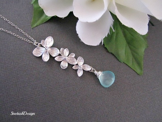 Birthstone Necklace, Bridesmaid Necklace, Gift for her, Natural Stone, Bridal Necklace, Wedding Necklace, Aquamarine Necklace, Pendant
