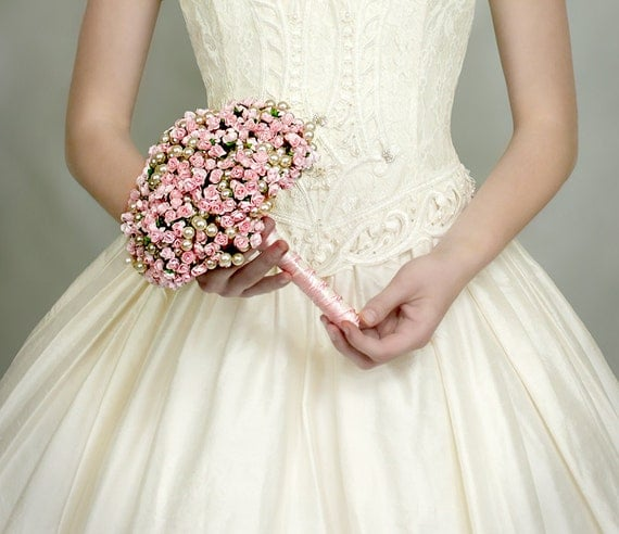 Wedding Flowers - Bridal Bouquet of Pink Paper Roses and Pearl Beads - Wedding Bouquets - Fabulous Brooch Bouquet Alternative