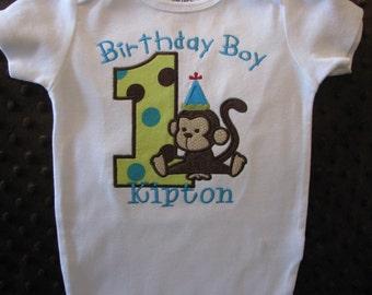 Birthday Boy First Birthday Monkey Shirt or bodysuit--Monkey Birthday Shirt--Safari shirt--Jungle Birthday Shirt--Baby Boy birthday shirt