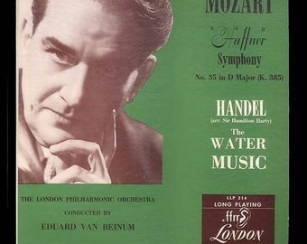 Eduard van Beinum, London Philharmonic Orchestra - Mozart, Haffner, Handel, Water Music - Rare 1950 London LP, Vintage Record Album - Vinyl