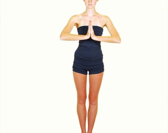 Women's Yoga Shorts - Eco Friendly  - Organic Clothing - Navy Blue - Avalable in Several Colors