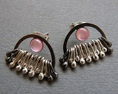 Sterling silver post earrings with pink mother of pearl  - Silver jewelry - Sterling silver studs - Silver post earrings