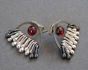 Sterling silver earrings. Silver stud earrings with garnet. Post earrings. Garnet earrings. Silver jewellery. Handmade. MADE TO ORDER.