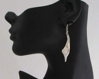Handmade Shiny Brushed Finish Combo Freeform Earrings in Sterling Silver Fine Jewelry