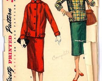 1324 1950's Women's Suit Vintage Sewing Pattern Simplicity 1324 Bust 30