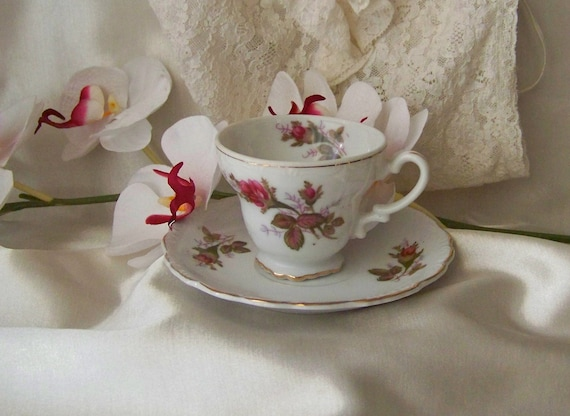 Vintage Moss Rose China Teacup and Saucer Miniature Tea Cup Pink Rose Gift For Mom 1970s