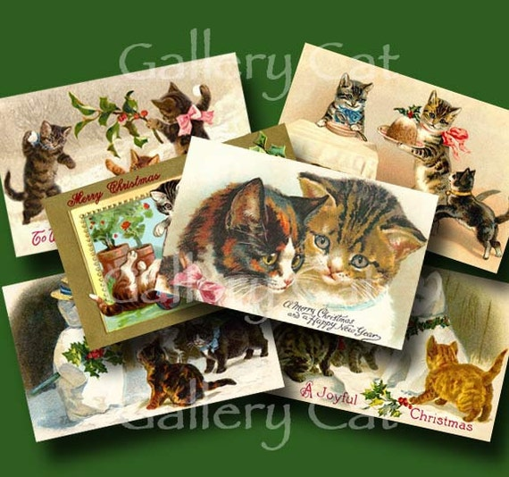 CHRISTMAS CAT Digital Collage Sheet Instant Download Scrapbooking Paper Tags Card Original Whimsical Altered Art by GalleryCat CS145