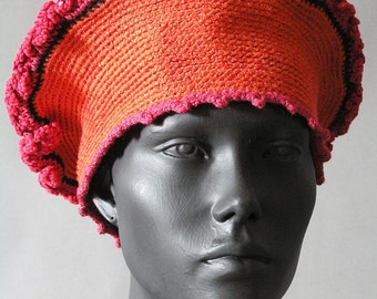 Earth-Toned Stretchy Crochet Hat with a Fuzzy Tip...