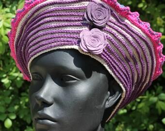 Purple & Pinks Crochet Hat with Two Beautiful Felt Flower Pins...