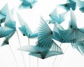 Origami Butterfly Bouquet  - Blue Morpho butterfly home decor - a dozen translucent paper butterflies, flower bouquet, paper gifts