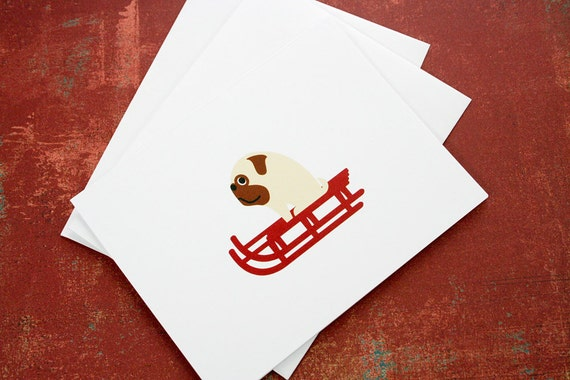 Christmas cards, pug riding a red sled. (set of 6)