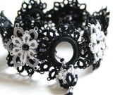 Black Gray White Beaded Tatted Lace Bracelet