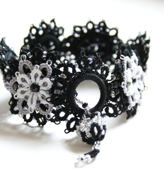 Black Gray White Beaded Tatted Lace Bracelet